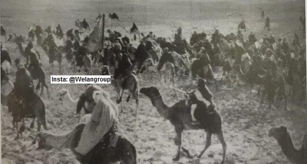 صورة لاحدى غزوات الثأر في القبائل العربية وهذا الغزو لقبيلة عنزة 1926م