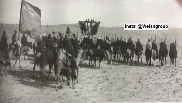 صوره لاحدى غزوات الثأر في القبائل العربية وهذا الغزو لقبيلة عنزة 1926م